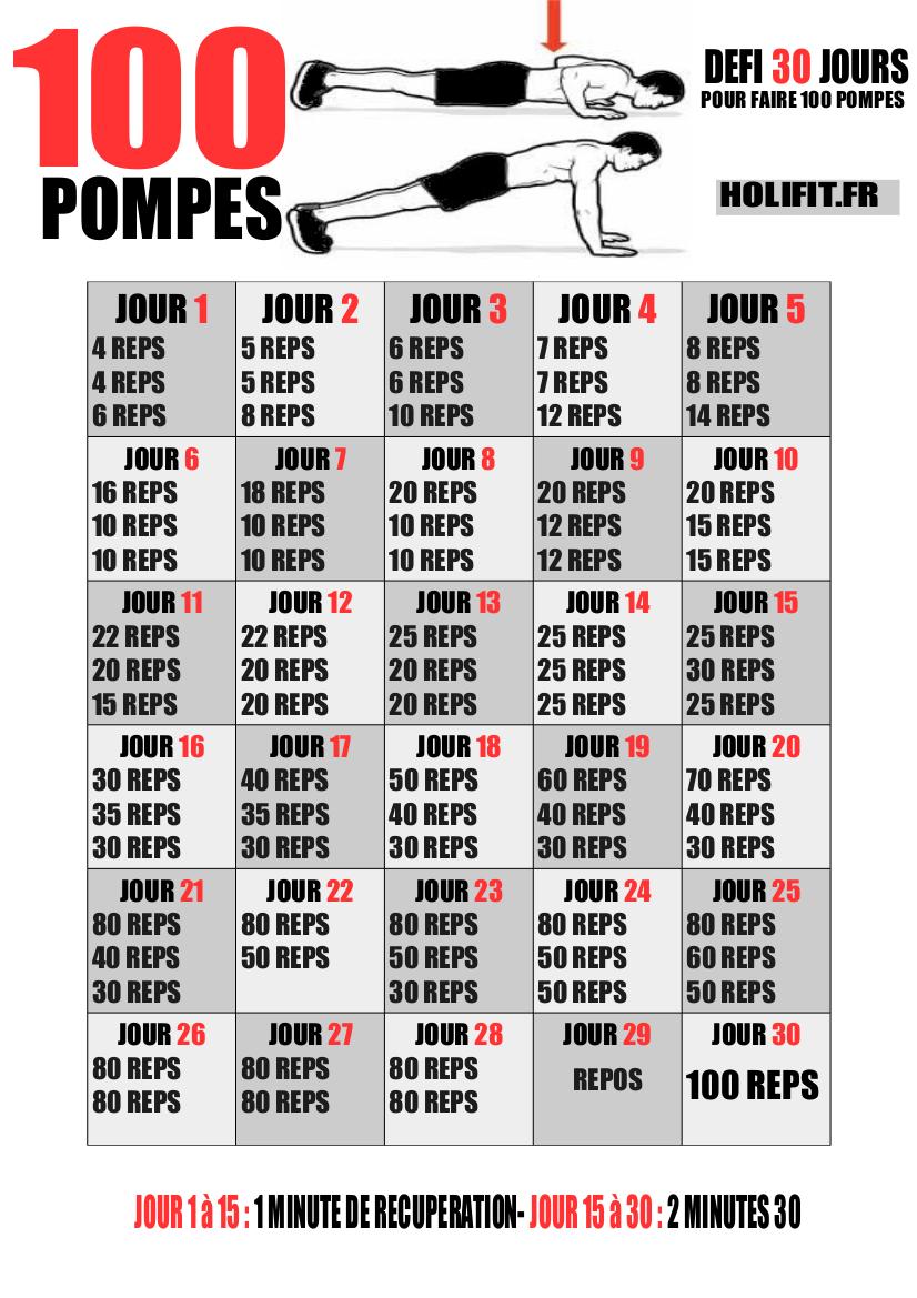 Défi 30 jours : 100 pompes - HOLIFIT